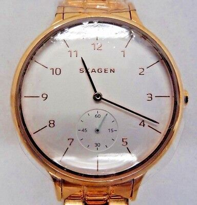 "Skagen SKW2417 Women's Rose Gold Tone Analog Watch Size 6 1/2"" Missing Bar Used"