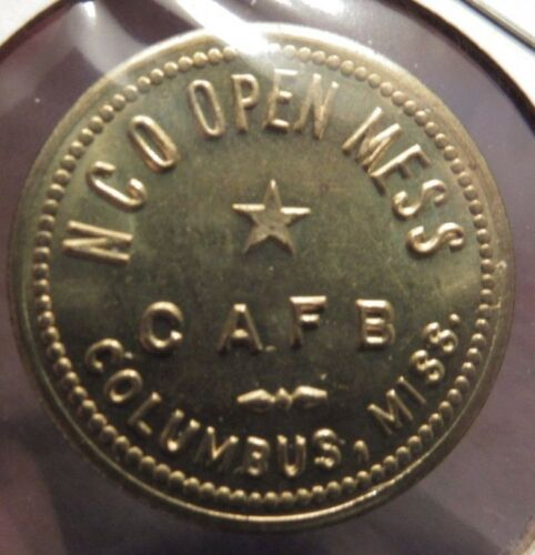Very Old NCO Columbus Air Force Base, MS 25c Trade Token - Mississippi