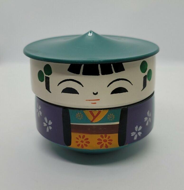 Vintage JAPANESE Lacquer KOKESHI Doll STACKING BENTO Bowls