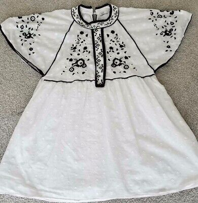 ZARA TRF COLLECTION EMBROIDED TUNIC S/S DRESS SZ M