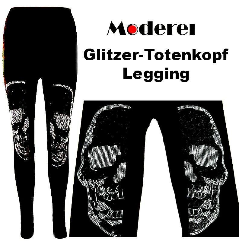 Leggings Totenkopf Glitzer Strass 36-42 Damen Sommer Skull Leggins