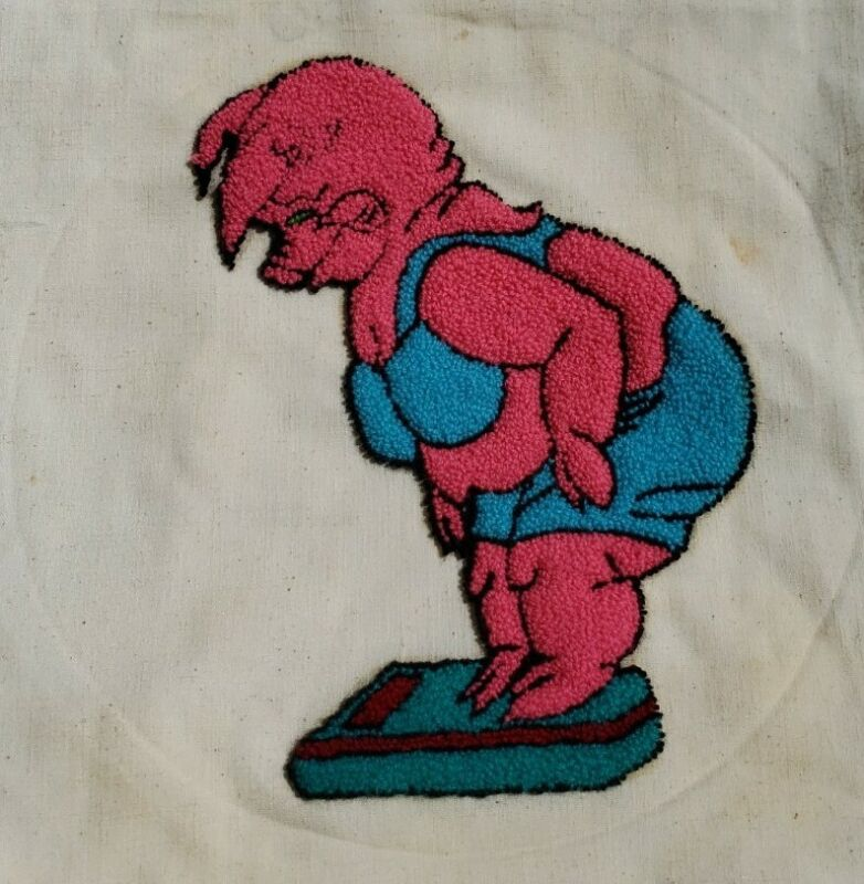 Vintage Punch Needle Embroidery Pig on Scale Applique Patch Craft Diet Humor EUC