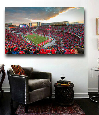 Ohio State Stadium Panoramic Canvas Print - Large 36 x 20 The Ohio State