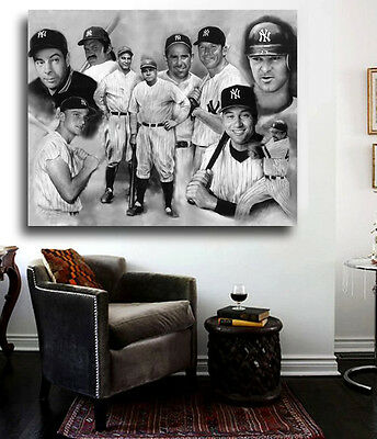 YANKEE GREATS Canvas Art Print w/Yankees Hall of Famers, Mantle, Ruth, JETER,