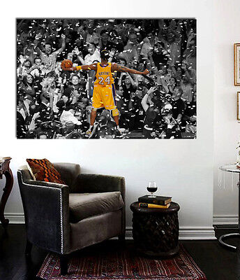- Kobe Bryant Celebrating Laker Championship Canvas Wall Art Print 36 x 20