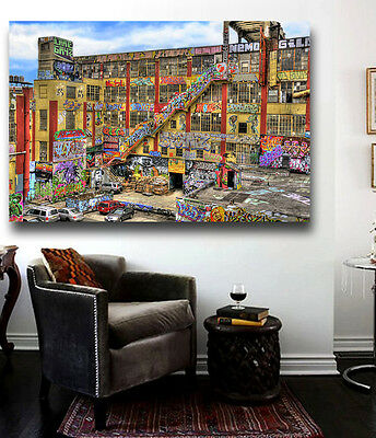 (5Pointz building Graffiti Canvas Poster Print Wall Art 36 x 24 Five pointz NYC)