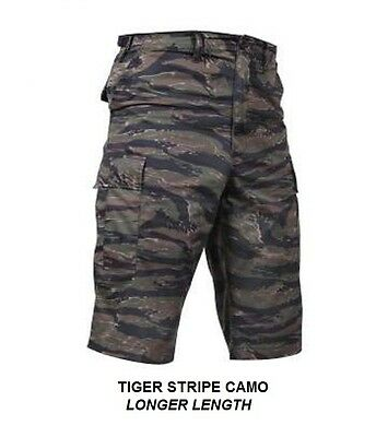 LONG LENGTH Combat Cargo Shorts TIGER STRIPE CAMO 13.5