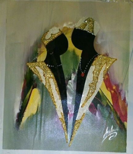 ASHTON III Signed MIXED MEDIA ABSTRACT IMPRESSIONISM PAINTING of a Black Couple