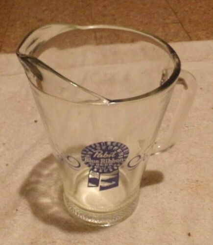 Pabst Blue Ribbon (PBR) Vintage Heavy Duty glass Beer Pitcher 48 oz.