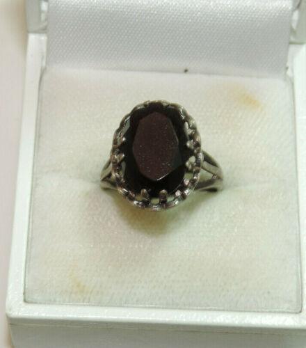British Vintage signed GLd. Onyx Black Stone sz 6 Mourning Silver Ring Cf 16