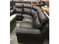 High retail black leather electric reclining corner suite