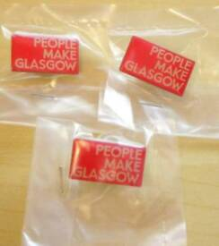 5 People Make Glasgow Pin Badges
