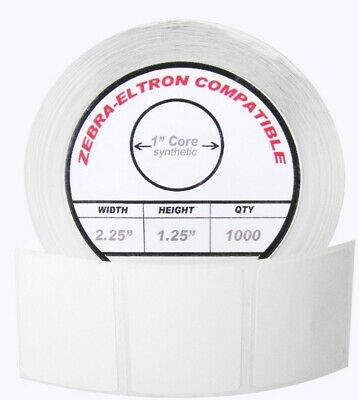 1 Roll 1000 Labels 2.25 X 1.25 Polypropylene Labels White Waterproof Direct...