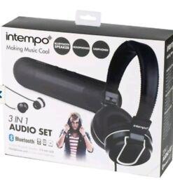 Intempo Audio Set includes earphones, headphones and a bluetooth speaker.
