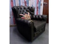 Fantastic Vintage Chesterfield Pegasus Wade Monk Chair in Unique Olive green Leather - UK Delivery