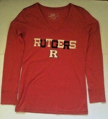 Campus Heritage Rutgers Long Sleeve T Shirt College M Red Black White Cotton