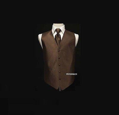 Cardi Chocolate Brown Herringbone Tuxedo Vest Euro Long  Tie S M L XL XXL XXXL