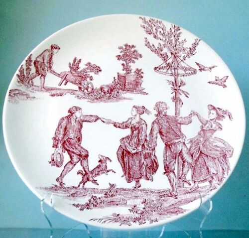 """Gien France Four Seasons Round 12"""" Cake Platter Delices Des 4 Saisons New In Box"""