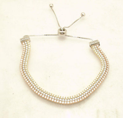 CUTE Tri-Color Adjustable Three Row CZ Tennis Bracelet Real 925 Sterling Silver