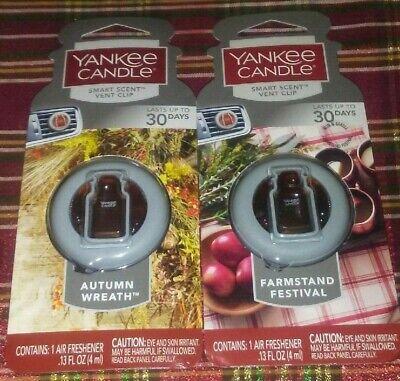 2-Yankee Candle AUTUMN WREATH/FARMSTAND FEST, Smart Scent Vent Clip, 30 Days Ea