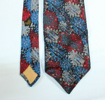 1960s – 70s Men's Ties | Skinny Ties, Slim Ties 1960s Retro Tie Necktie 100% Acetate Textured Puzzle Splotches Red Blue Silver $10.99 AT vintagedancer.com