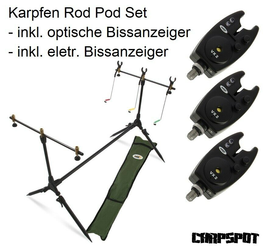 Karpfen Rod Pod + Bissanzeiger + Buzzerbar + Ruten Halter Auflagen +Tasche