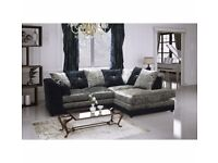 DYLAN CORNER SUITE - NEW - CRUSH VELVET BLACK & SILVER - DELIVERED