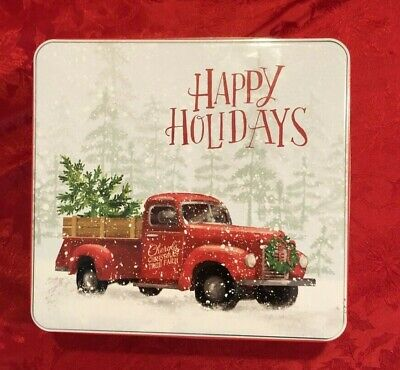 Happy Holidays Cookie Tin with Cheryl's Christmas Tree Farm Vintage Red Truck