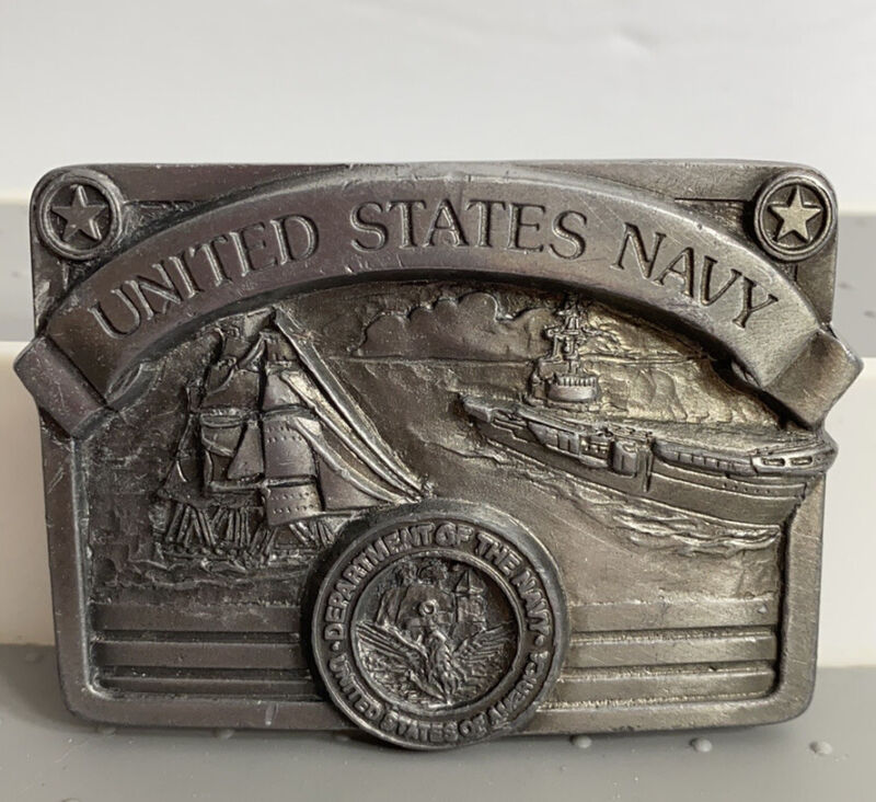 United States Navy Belt Buckle Sailboat Air Craft Carrier