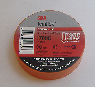 Premium Grade 3m Temflex Orange Vinyl Electrical Tape 34 X 66 Flame Retardant