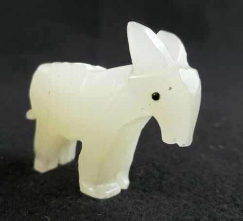 """VINTAGE Alabaster Donkey/Burrow/Jack Ass  2.5"""" x 2.5"""" Hand Carved Stone Statue"""
