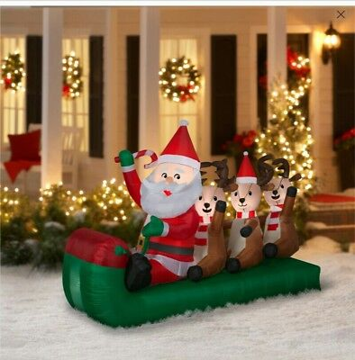 SANTA SLEIGH WITH REINDEER INFLATABLE~ AIRBLOWN ~ 6.5' WIDE~ FACTORY SEALED BOX
