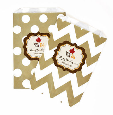 Thanksgiving PERSONALIZED Party Favor Goodie Bags - lot of 36 - Thanksgiving Goodie Bags