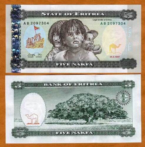 Eritrea, 5 Nakfa, 1997,  FIRST CURRENCY, P-2, UNC