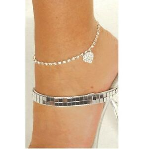 New-Sexy-Crystal-Rhinestone-Heart-Anklet-Womens-Ladies-Ankle-Bracelet-Jewellery