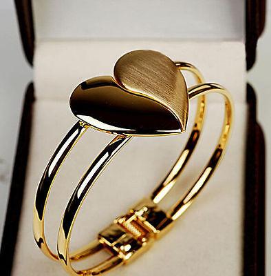 Gold Love Heart Bangle Women Lady Cuff Charm Bracelet Bling Hand Chain Jewelry ()