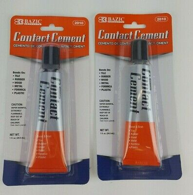 2 Pack Lot Contact Cement Glue Tile Rubber Wood Metal Formica Plastic 1oz Tubes