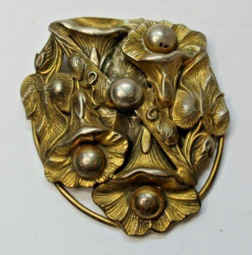 Antique Vintage Goldtone Metal Dress Clip Floral Motif Relief Art Deco Nouveau