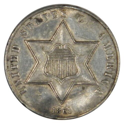 1861 3 THREE CENT SILVER - 180 DEGREE ROTATED REVERSE - NICE AU/BU!