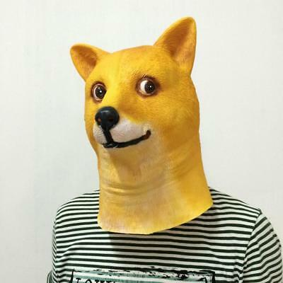 US! Funny Wow Head Animal Doge Mask Latex Headgear Shiba Dog Halloween Cosplay](Funny Animal Masks)