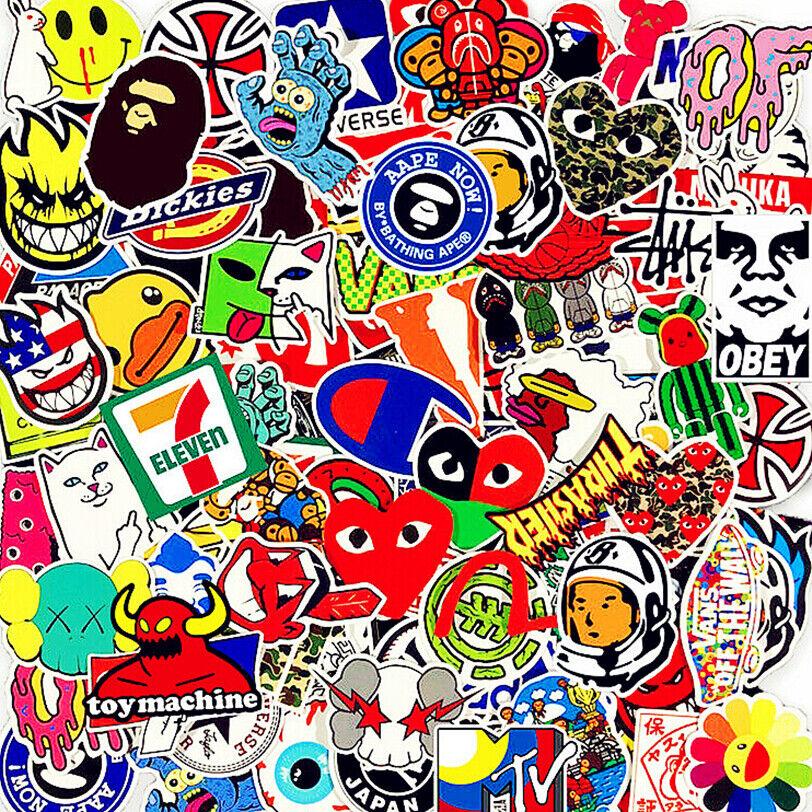 Stickers 200Pcs Skateboard Vinyl Laptop Luggage Decals Dope Sticker Kids Random