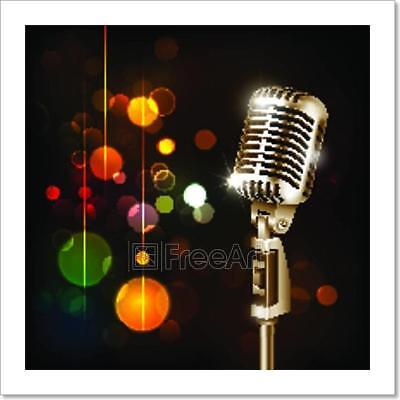 Vintage Microphone On Abstract Art Print Home Decor Wall Art Poster - H