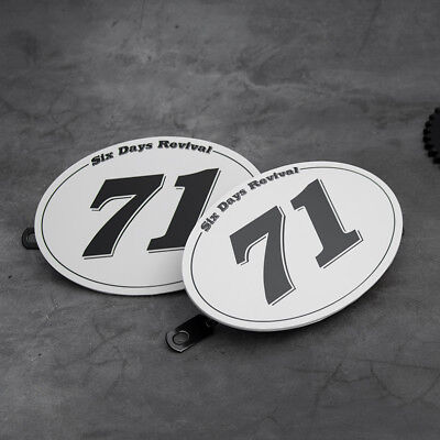 "x2 Table NUMBER PLATE for MOTO CAFE RACER tracker scrambler  ""71"""