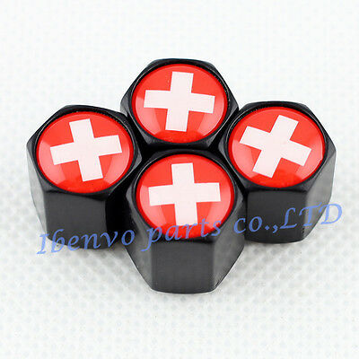 Black Styling Car Metal Wheel Tyre Tire Stem Air Valve Cap For Swiss Flag Style