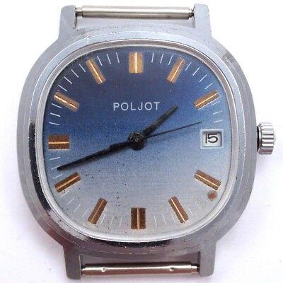 Vintage Soviet Poljot windup watch Nice Blue Dial USSR 70's Serviced *IN US*#565