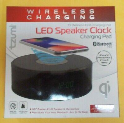 Tzumi Wireless LED Speaker Clock Charging Pad IPhone X,8+,8 ready - BRAND NEW