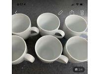 Set of 6 white mugs