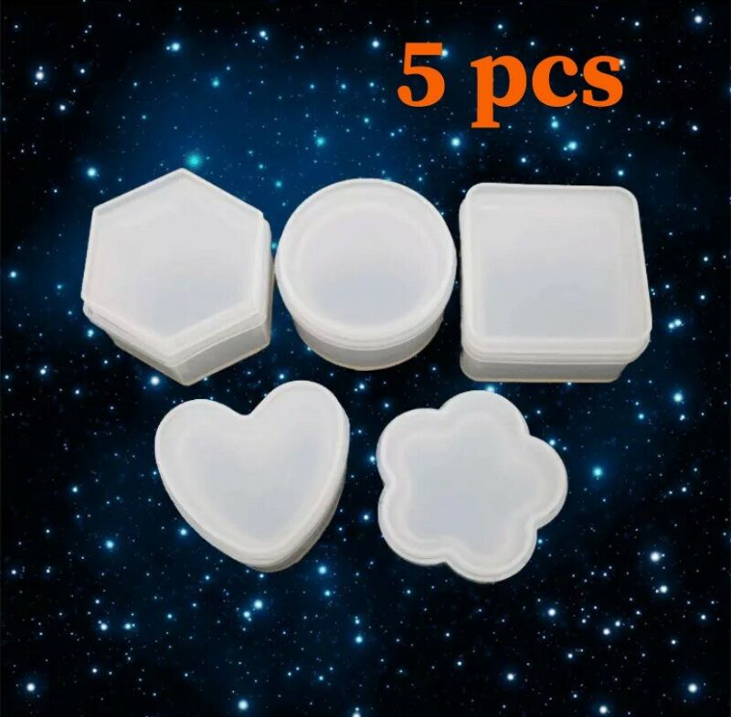Resin Box Molds Heart Shaped Jewelry Box Mold Resin Box Silicone Mold Epoxy 5pcs
