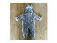 Grey fluffy pram suit