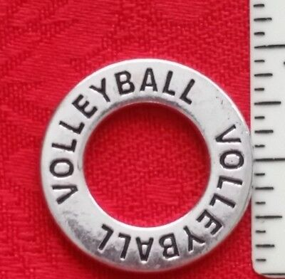 Volleyball Charm Bracelet (ANTIQUE SILVER BRACELET CIRCLE CONNECTOR CHARM - VOLLEYBALL - CLUB  -)